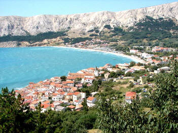 Picture old town and the beach - Baska Krk Croatia