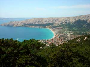 View from the cemetery hill Baska island Krk Croatia